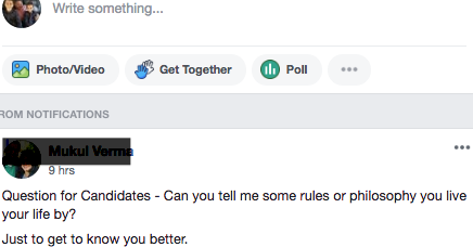 Facebook Question posed to candidates